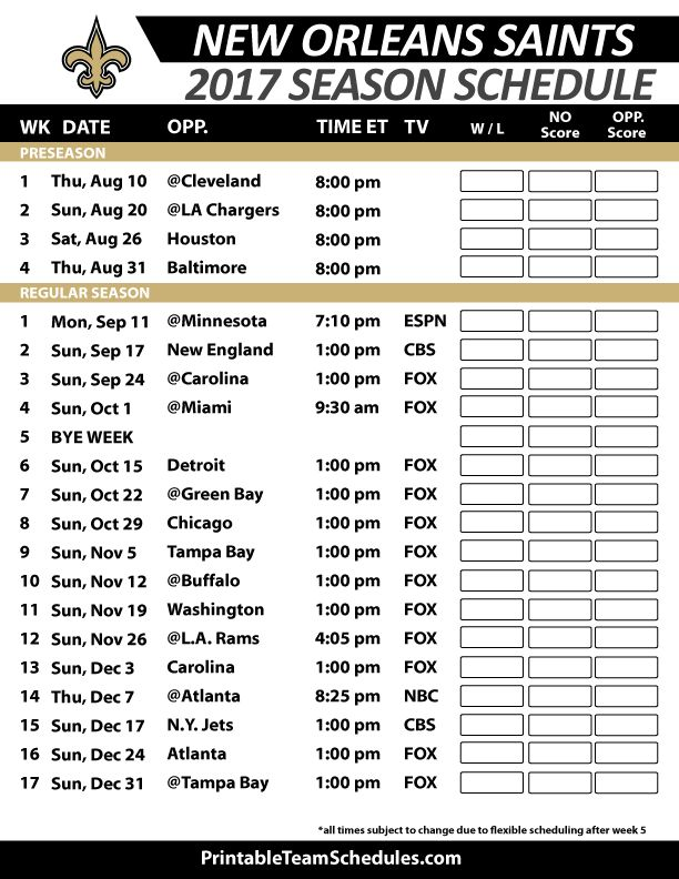 New Orleans Saints Football Schedule 2017