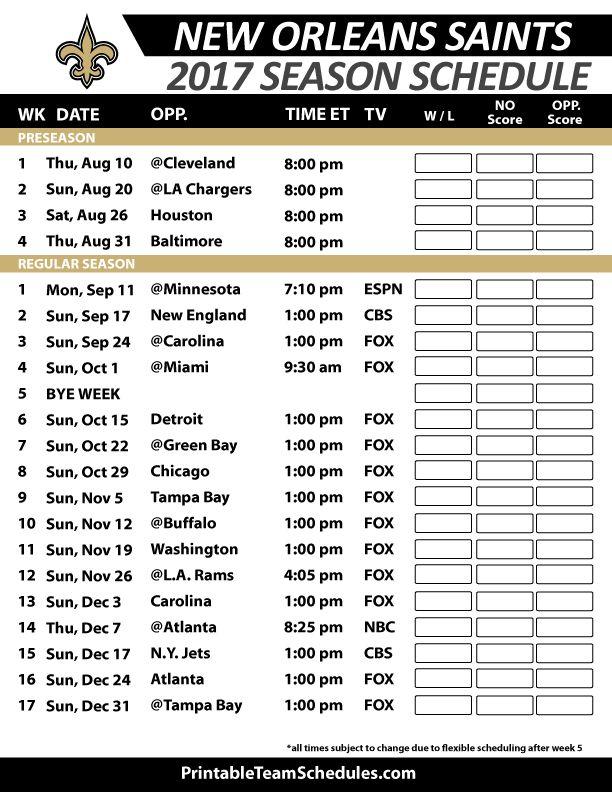 New Orleans Saints Football Schedule 2017 https://www.fanprint.com/licenses/new-orleans-saints?ref=5750 https://www.fanprint.com/licenses/new-orleans-saints?ref=5750
