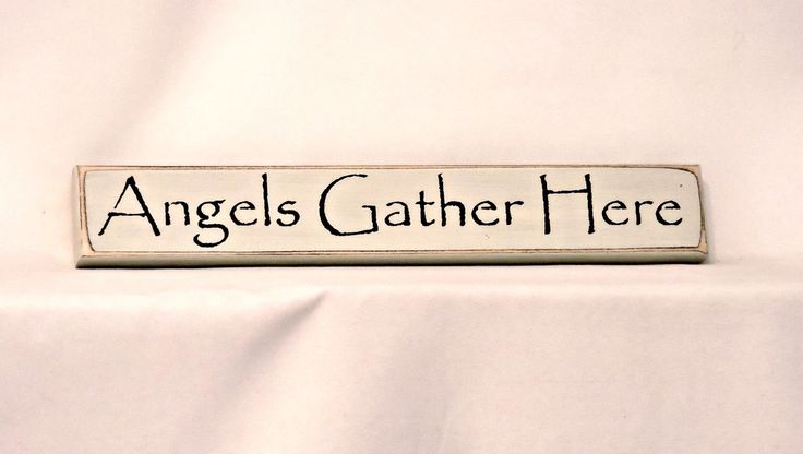 Angels Gather Here - Primitive, Country, Painted Wood, Shelf Sitter Signage, Home Decor, friendship gift by thecountrysignshop on Etsy