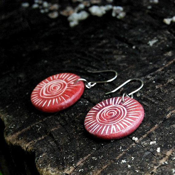 Ceramic jewelry earrings  spiral sunshine rustic by Brekszer