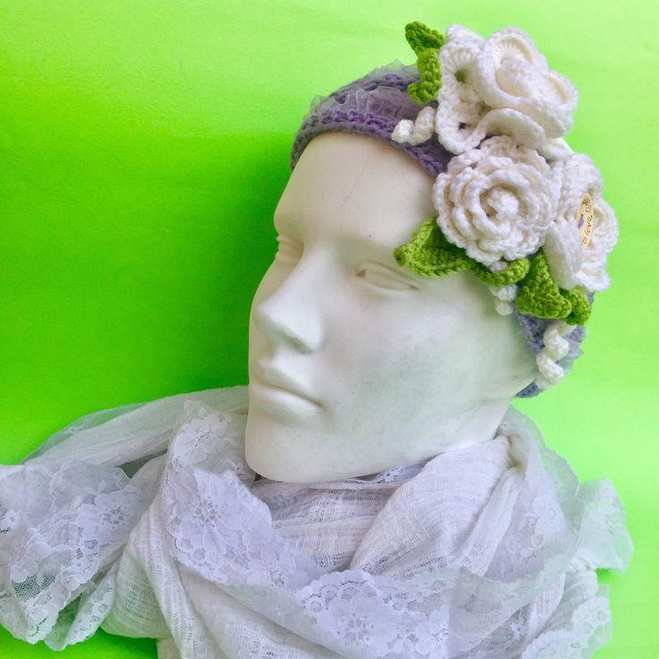 Fascia capelli glicine con rose bianche morbida boho chic di alchimiaEpolvere su Etsy
