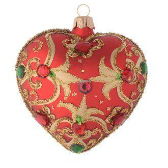 Addobbo cuore vetro rosso decoro oro 100 mm | vendita online su HOLYART