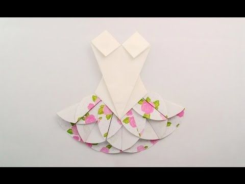 Origami dress / พับชุดกระโปรง - YouTube