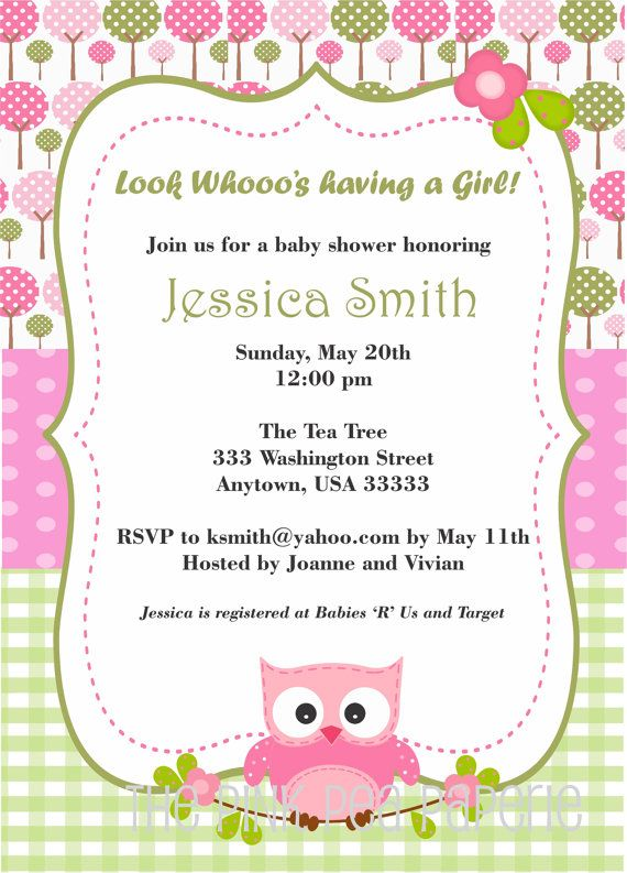 NEW! - OWL Baby Shower Invitation with Pink and Green  by PinkPeaPaperie, $8.00