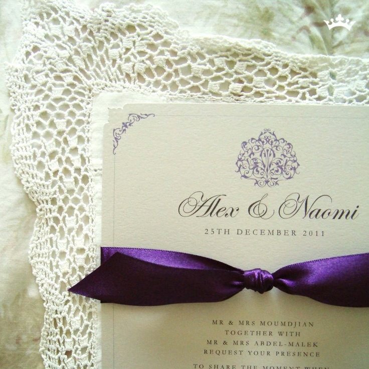 tie ribbon wedding invitation%0A Grape Caramel  A  flat invitation with a brooche design    mm satin ribbon  tie and