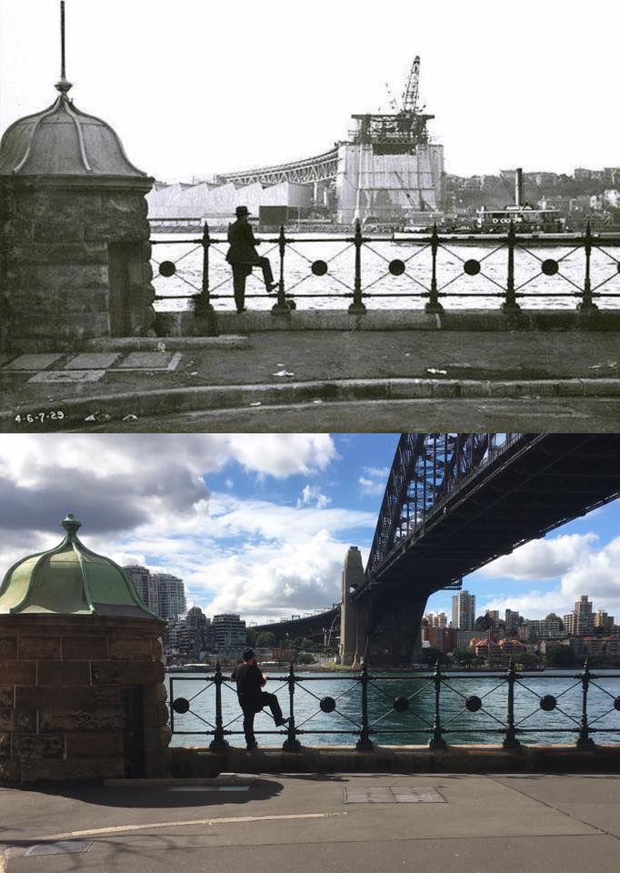 Hickson Road, Dawes Point. Contemplating the Bridge to be in 1929 and the Bridge that is in 2017. [State Archives of NSW > Phil Harvey. By Phil Harvey - with thanks to my co-admin Curt Flood]
