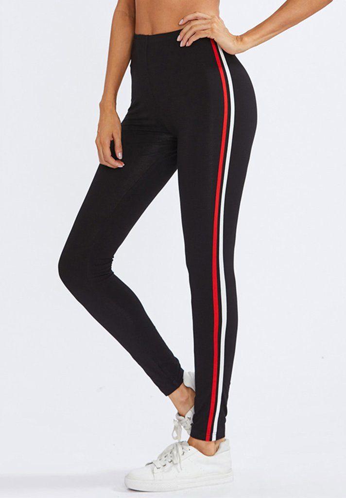 6f587507b15cd Black Striped Side Leggings