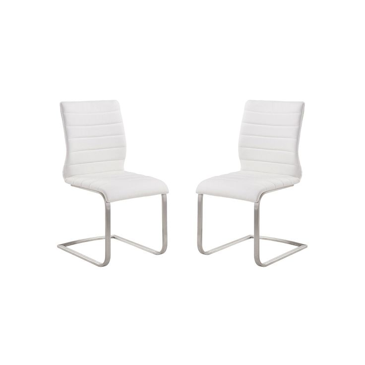 Armen Living Fusion Contemporary Accent Chair 2-piece Set, White