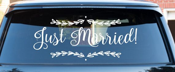 Wedding Getaway Car Decal Just Married Car decal by MomMadeTacos      #justmarrieddecal #gettingawaycar #weddingdecal