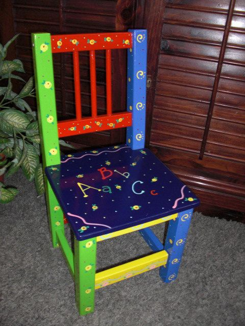 Hand painted Childrens Chair by minisandmore on Etsy, $40.00