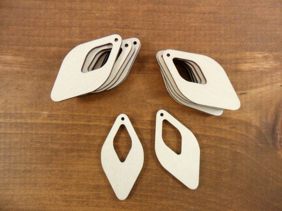 """25 Earrings Pendants Diamond Shape Cutout 2"""" H x 1"""" W x 1/8"""" Unfinished Laser Cut Wood Jewelry"""