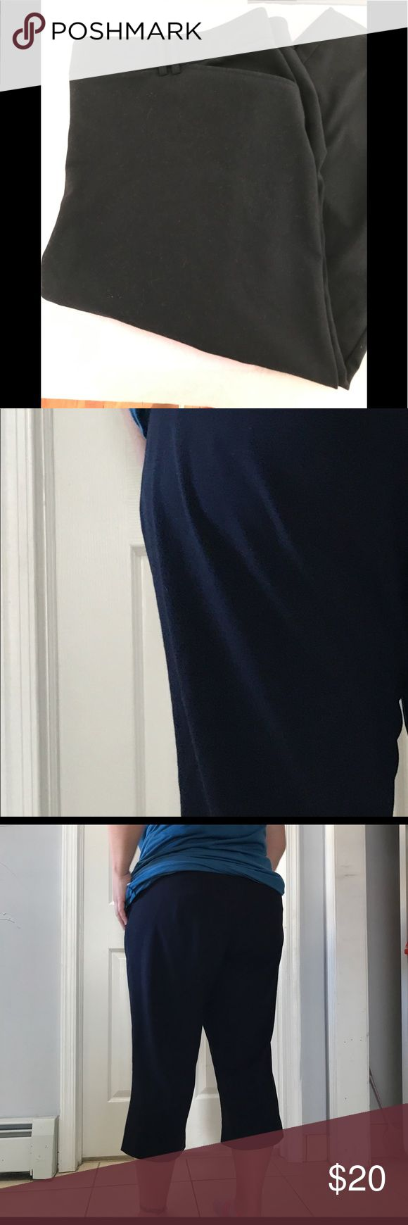 Dress Barn brand capri dress pants Worn very few times. EXCELLENT CONDITION. Navy blue Dress Barn Capri style dress pants. The material feels and looks like that of dress pants, so you can dress them up or wear as casual. There is one close up picture to show the true Navy blue color (other pictures the navy doesn't show well). There is stretch in the waist and button/zipper. Pockets in front and back. They're loose on me, so I posted a picture of myself from the back side to show the length…