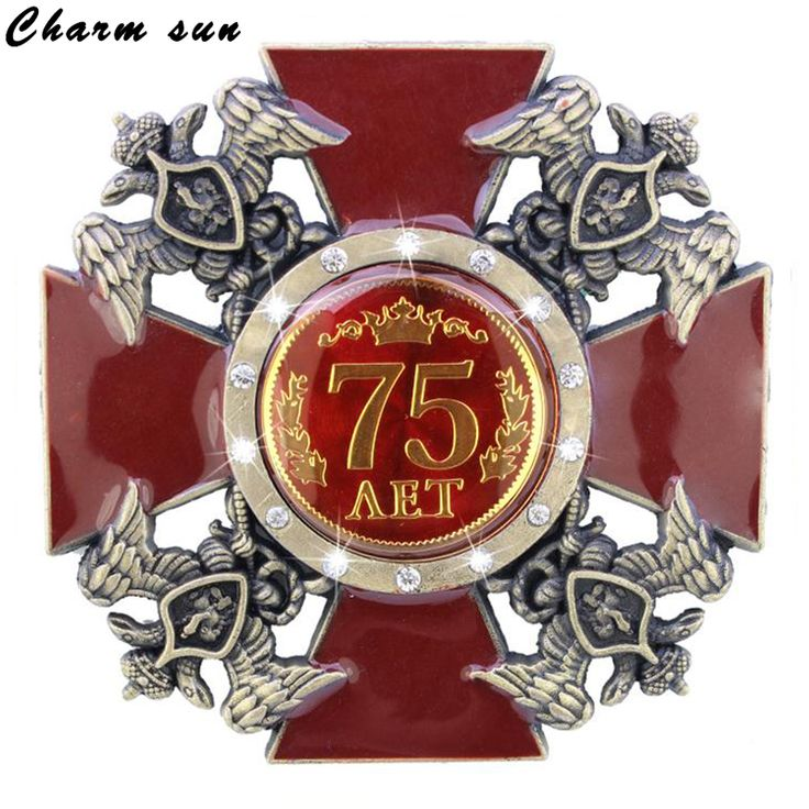 75 years anniversary souvenir double headed eagle russian medal medal pin badge metal cross crafts home decoration supplies