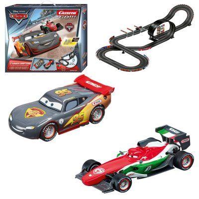 """Carrera GO!!! circuito Disney/Pixar carbon Drifters, 6.2 m por 45,95 €  Ahora como novedad, en los mandos de #aceleración dispondrás de un #botón """"turbo"""" para obtener la máxima #potencia del #coche y realizar adelantamientos vertiginosos. Revive las escenas más emocionantes de la #película #Cars.   #chollos #juguetes #newsletter #ofertas"""