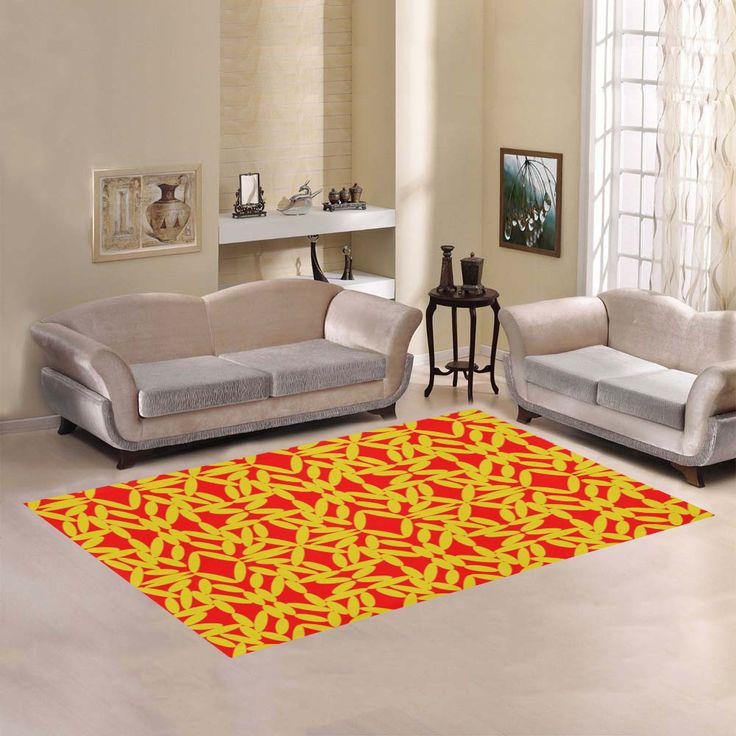 Red Floating Diamonds Area Rug