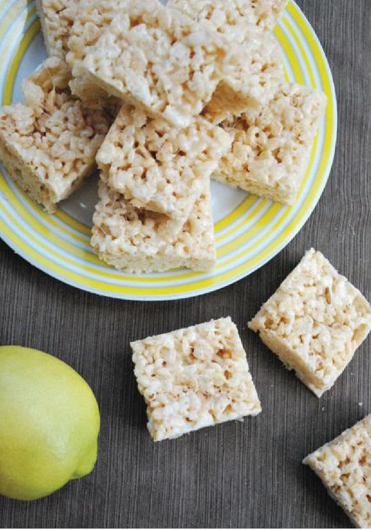 Lemonade Rice Krispies Treats – This dessert recipe tastes like summer! An easy treat to make for a potluck or a bake sale.