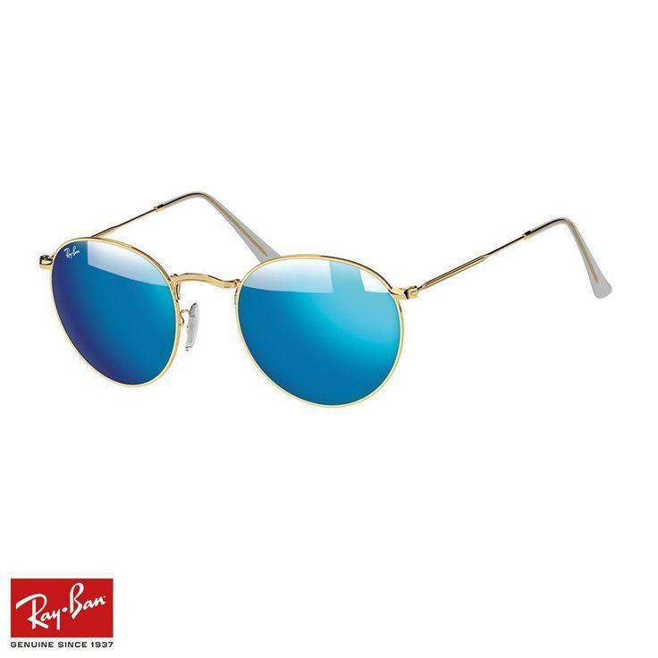 RayBan Round Flash F.Mavi-Altın Gözlük - 28 #RayBan #RayBanGözlük #Round Flash