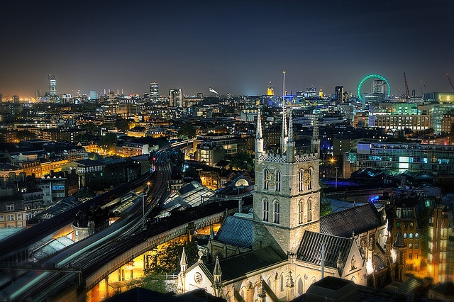 Southwark Cathedral by night by murphyz, via Flickr