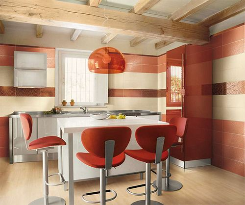 modern kitchen with red accents