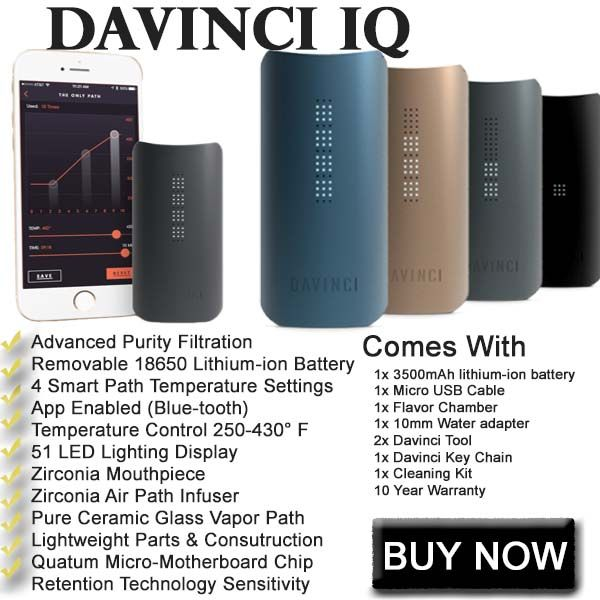 https://healthvaporizers.com/davinci-iq-vaporizer.html $279 - The Davinci IQ portable herbal vaporizer for sale is one of the best portable vaporizers for its price. When you're looking for a really smart vaporizer, the Davinci IQ is the best choice.