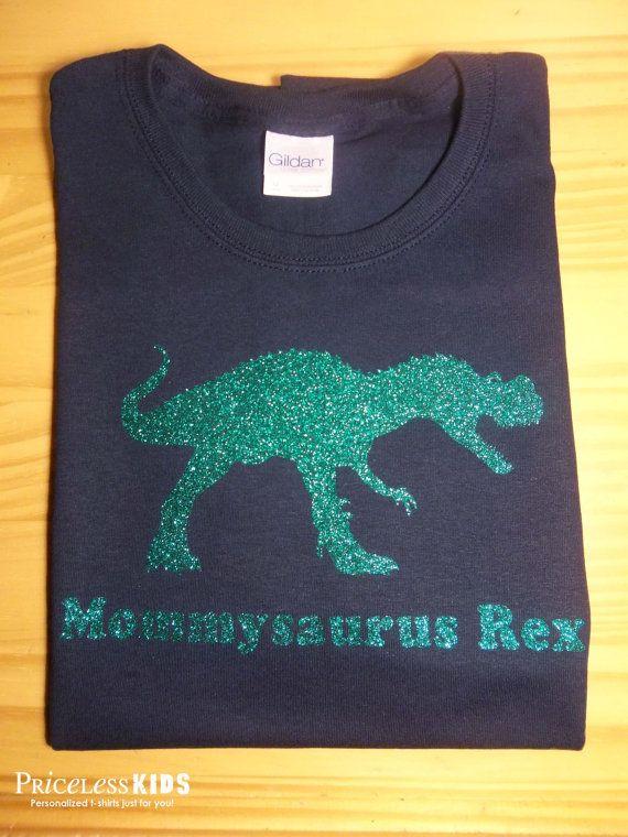Bling mommy glitter dinosaur t shirt, personalized T rex dinosaurs shirt, women's sparkly glitter dinosaur shirt on Etsy, $23.50