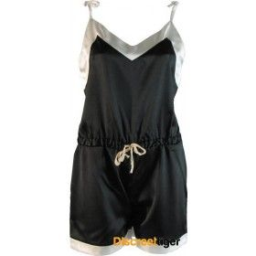 The Phialli silky romper playsuit is the perfect one piece for going out or lazing about in. Vintage-inspired Black with thin delicate tie up straps, drawstring waistband and contrasting pearl white wide trim. It's so soft and silky you won't want to take this piece off. Petite to Plus size. http://www.discreettiger.com.au/sleepwear/satin-pyjamas/black-silky-romper-playsuit.html #rompers #silkysleepwear #pjs #summerlove #plussize #loungewear #pearl #phiallisleepwear #discreettiger…
