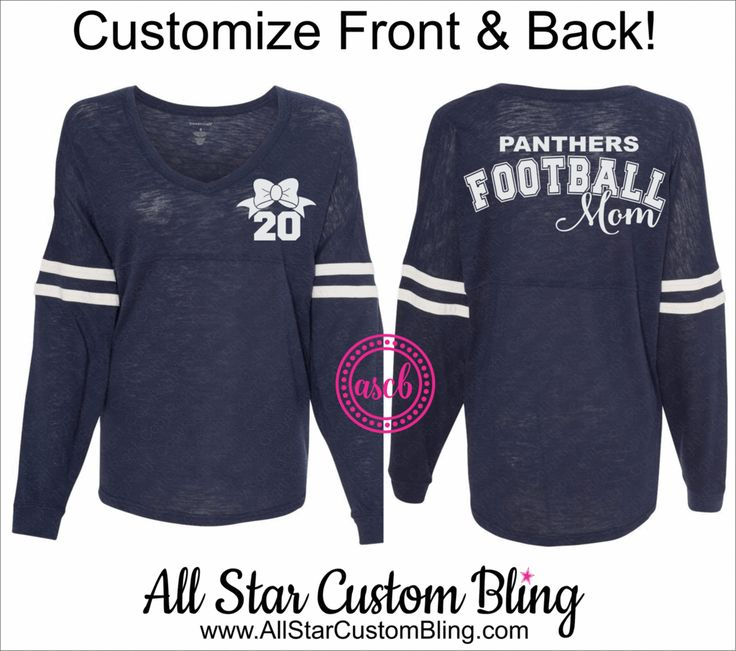 Football Mom VNeck Slub Pom Pom Jersey, Custom Football Mom Jersey Shirt