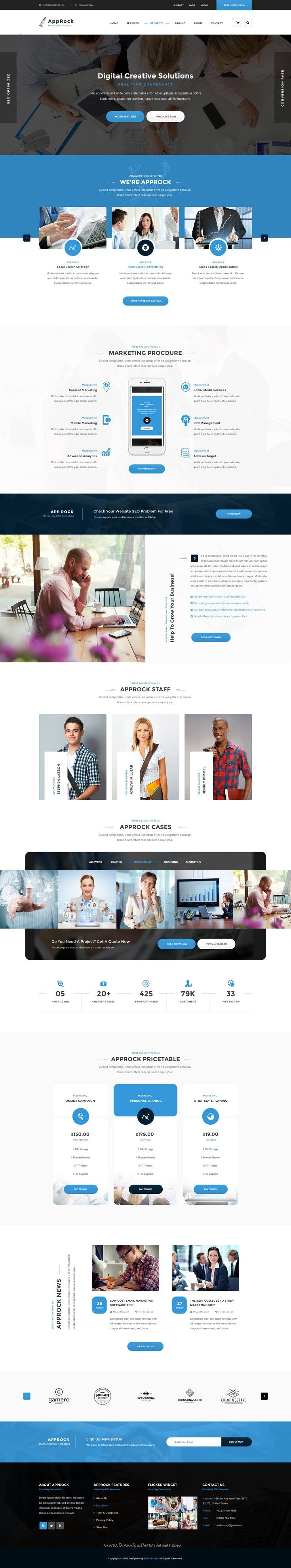 AppRock is Clean and professional #PSD Template for #business and financial services #website. Download Now!