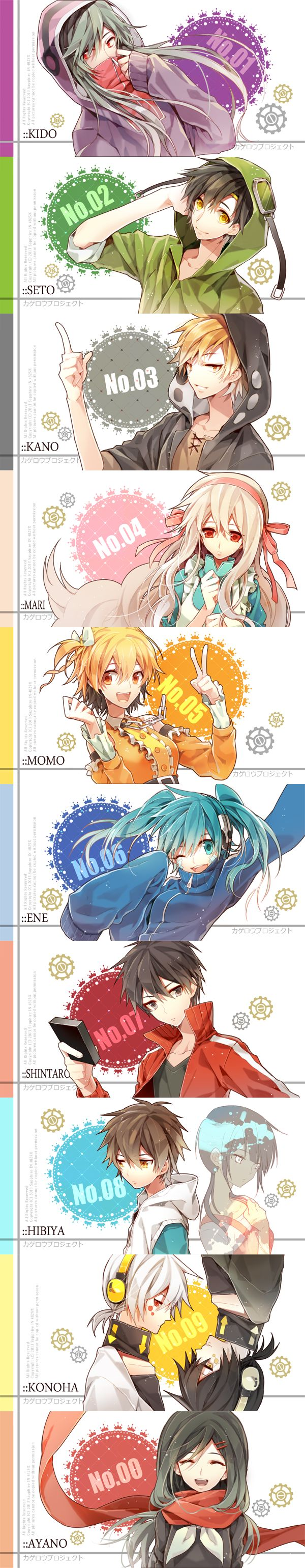 Kagerou Project - Mekaku City Actors.  I already know i posted this i just need it for refrence and closer at the top so i can see it better cuz cba to scroll down ~~ too busy to do it ~~ teehee (^ν^) (^з^)-☆