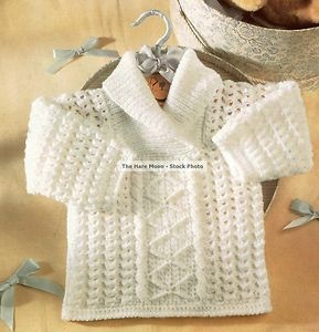 Vintage Crochet Pattern Baby's Aran Style Diamond Jumper/Sweater TO CROCHET | eBay