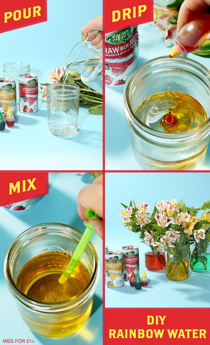 Up your decorating game with this easy DIY Rainbow Water table decor—it's a fun, cute way to upgrade your Cinco de Mayo party. All you need are mason jars, food coloring, water, and flowers! To get started, fill each glass halfway with water and a couple droplets of food coloring (psst, you can also adjust the coloring however you like by adding more water or dye). Then, add some flowers to the mason jar & decorate your space as needed. It's just the pop of Rita color that your fiesta needs…