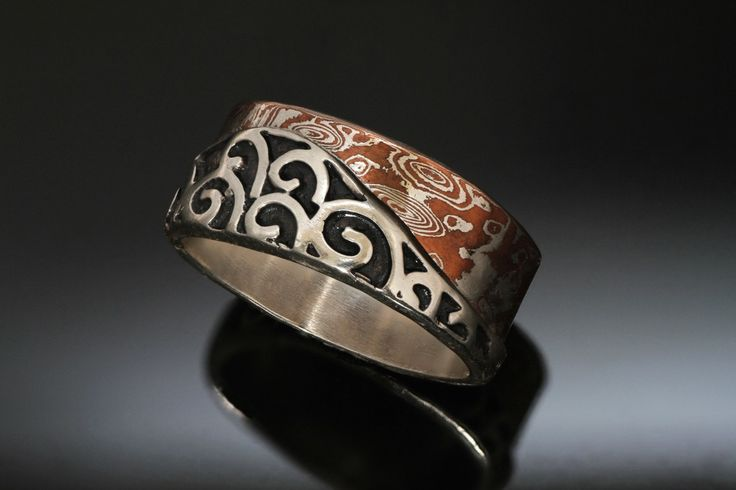 Mokume Silver Spiral Wide Ring - Oxidized Black Patina - Rounded Square - Unique Wedding Band - Mens Mokume Ring - Handmade in BC Canada by Fullmoonjoolz on Etsy