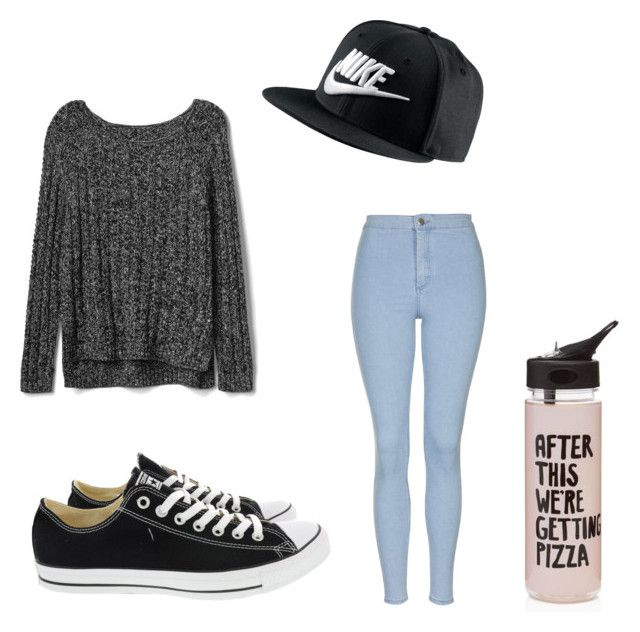 """""""School Outfit!!"""" by sam-sam-04 on Polyvore featuring Gap, Topshop, Converse, NIKE and ban.do"""