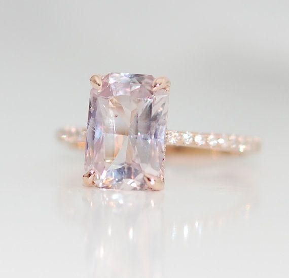 Engagement ring diamond ring 3ct peach sapphire by EidelPrecious