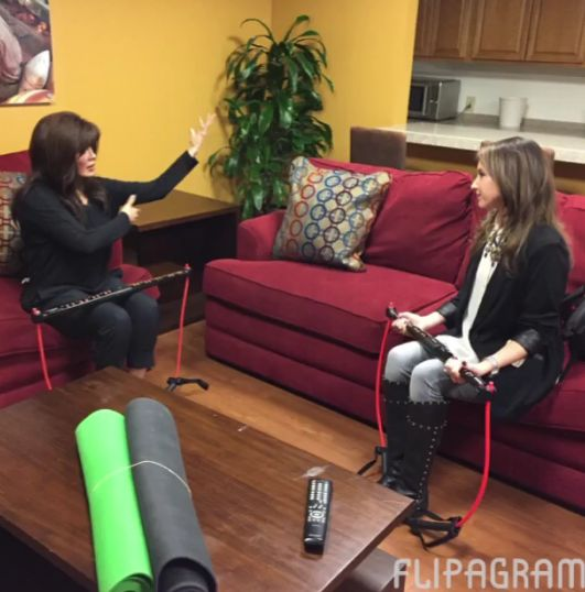 Marie Osmond and Courtney Cason at QVC with the BodyGym