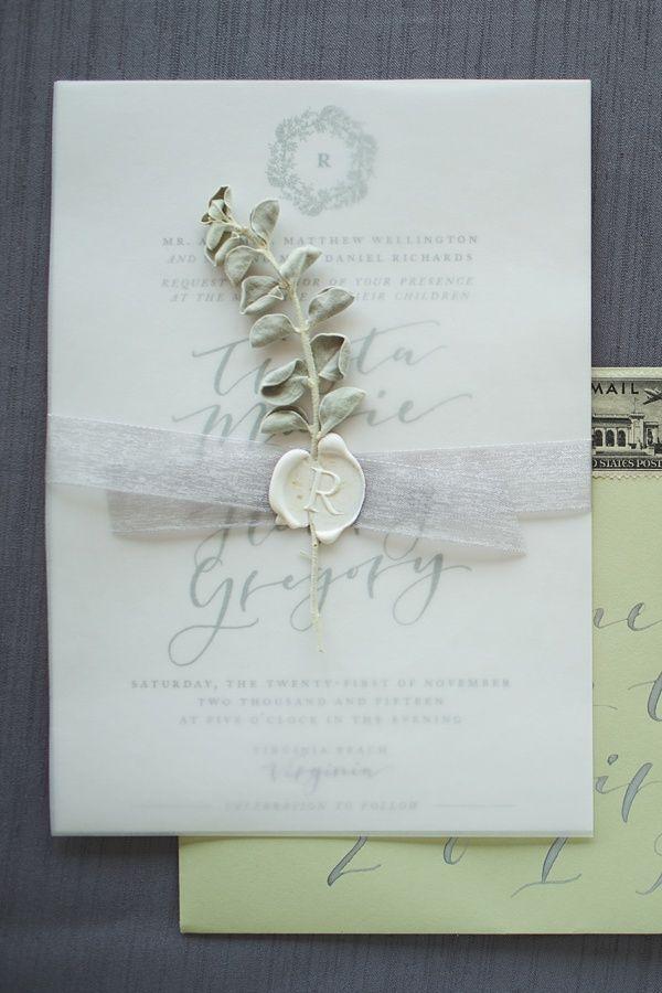 Pretty wedding invitation with white wax seal