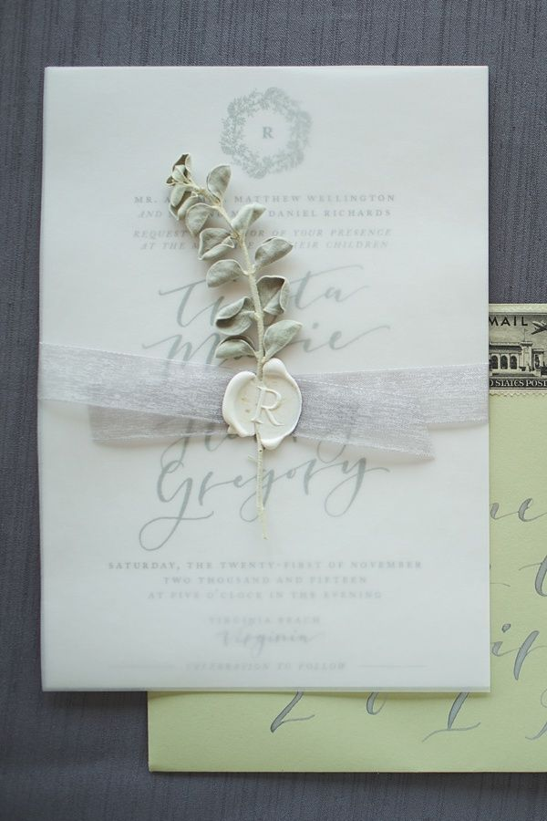 Pretty wedding invitation with white wax seal