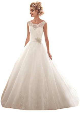 ZHUOLAN White Lace on Tulle with Wide Hemline and Satin Wedding Dress  ZHUOLAN