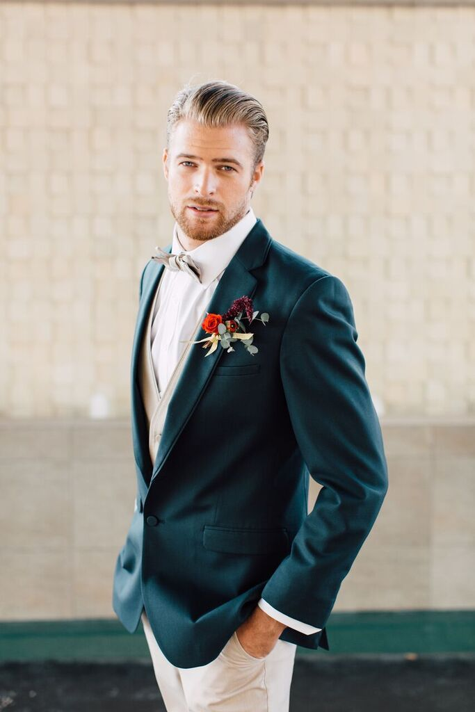 Online Tuxedo Rental for Men- dark blue and tan suit- bowtie- boutonniere