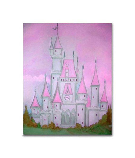Girl Nursery decor Pink Grey Princess Castle Cinderella