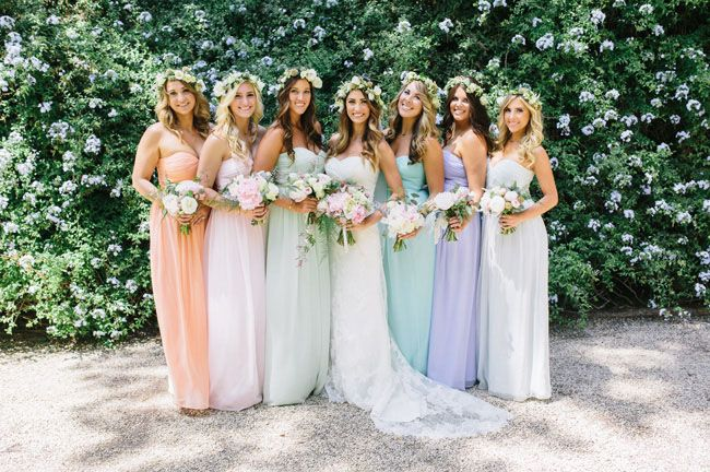 Pastel maxi dresses + flower crowns for the bridesmaids