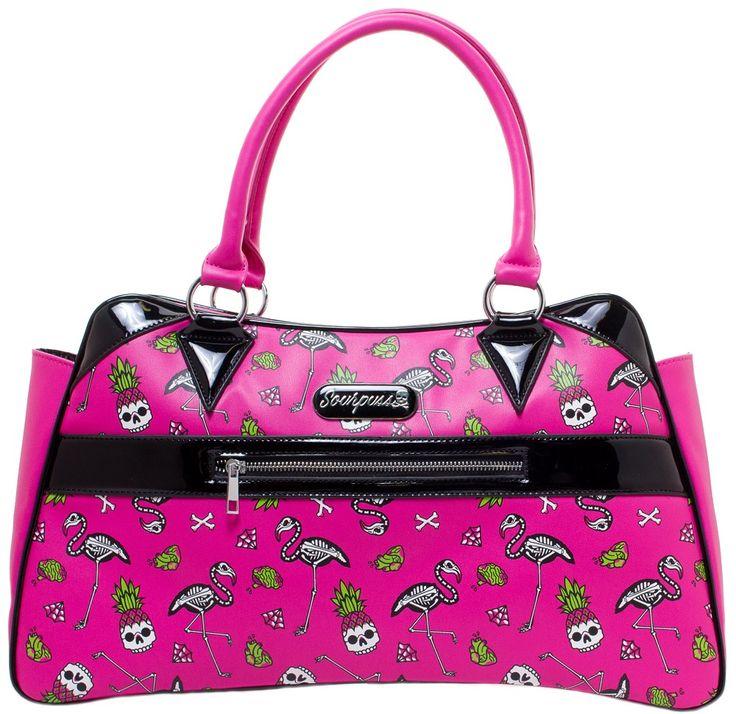 SOURPUSS FLAMINGOS CAMILLE PURSE $53.00 #sourpuss #sourpussclothing #purse #flamingos #skulls