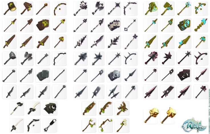 Wakfu MMORPG. Arsenals and series of weapons icons