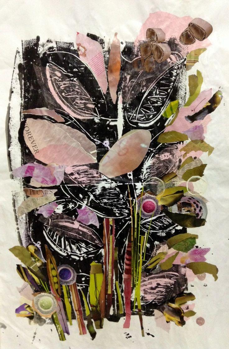 Patricia Blin Monotype / Technique mixte sur papier 103 x 70 cm 2014  Paris Atelier en commun / Le cent Paris 12 e