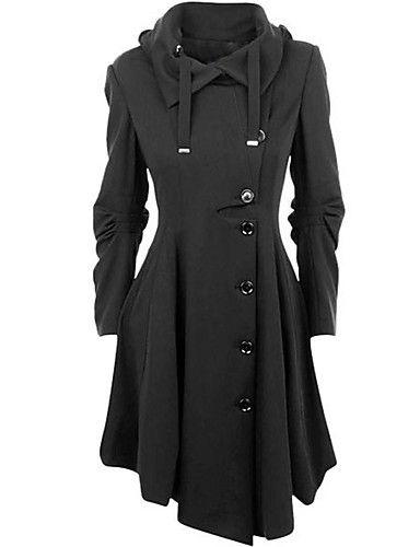 Vrouwen Eenvoudig / Street chic Winter Jas,Casual/Dagelijks Overhemdkraag-Lange mouw Zwart Effen Medium Katoen 5204046 2017 – €34.29