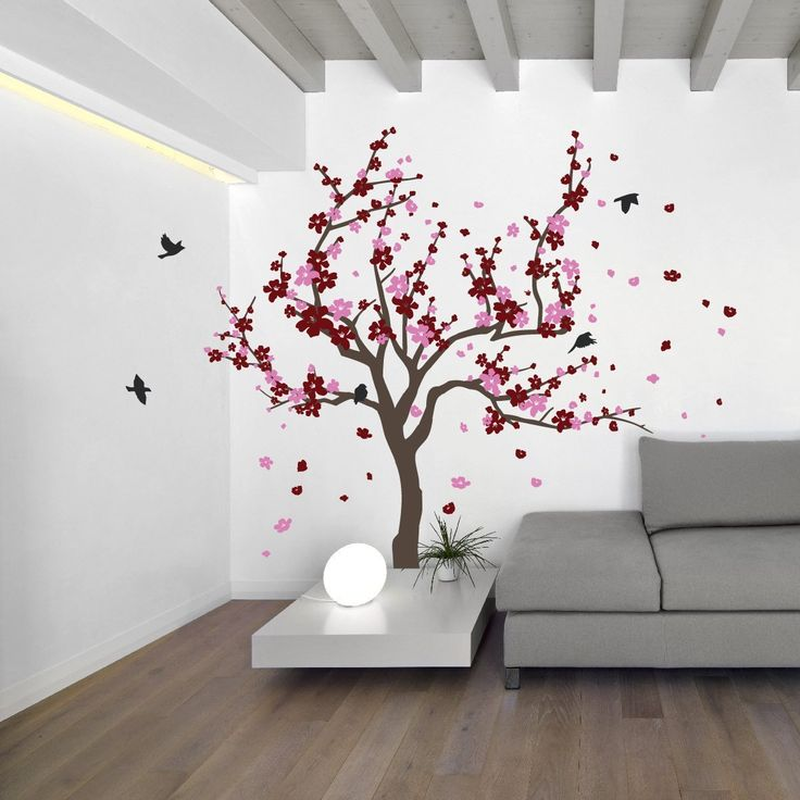 Baby Girl Nursery Removable Wallpaper Japanese Cherry Blossom Tree And Birds Wall Decal Sticker