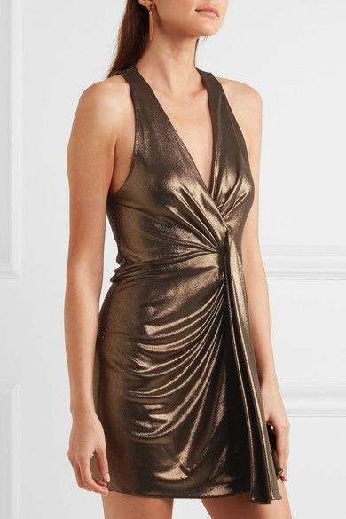 Saint Laurent - Draped Lamé Mini Dress - Gold - FR