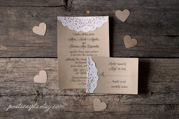 Cheap Shabby Chic Wedding Invitations: Handmade Vintage Lace Doily Wedding Invitations