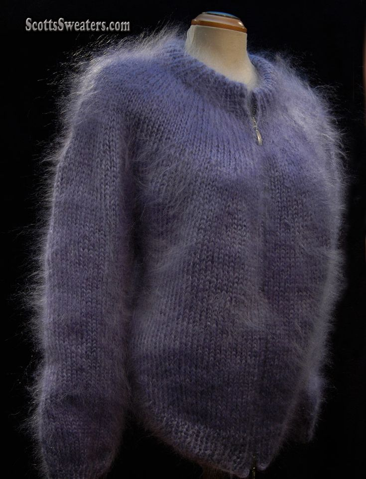 700-024s New Unisex Zipper-Front Cardigan Mohair Sweater
