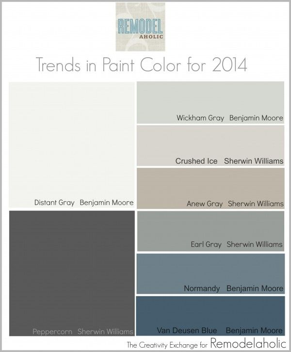 Trends In Paint Color For 2014 Distant Gray   Kitchen Crushed Ice   Boys  Room Anew Gray   Living Room Peppercorn   Fireplace Wall?